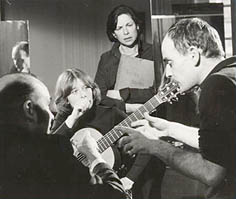 Cheryl recording with Julian Bream in Paris.