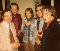 Cheryl with Graham Wade, John Mills, John Zaradin and Peter Sensier - Guitar Summer School, England.